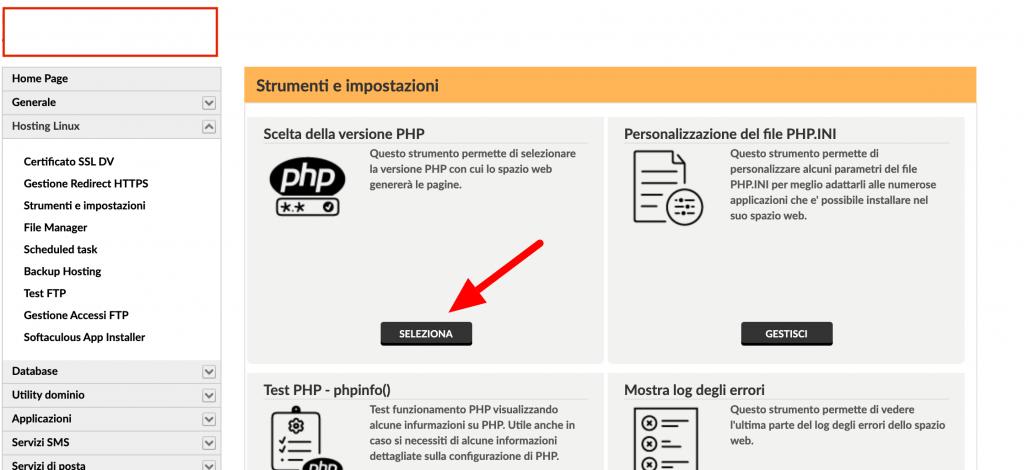 Pannello Aruba Accesso a Scelta Versione PHP